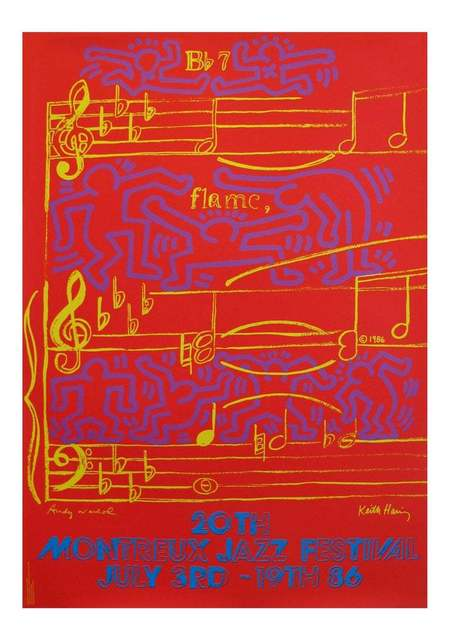 Keith Haring, 'Warhol Haring Montreux Jazz poster', 1986, Posters, Off-set print, Lot 180