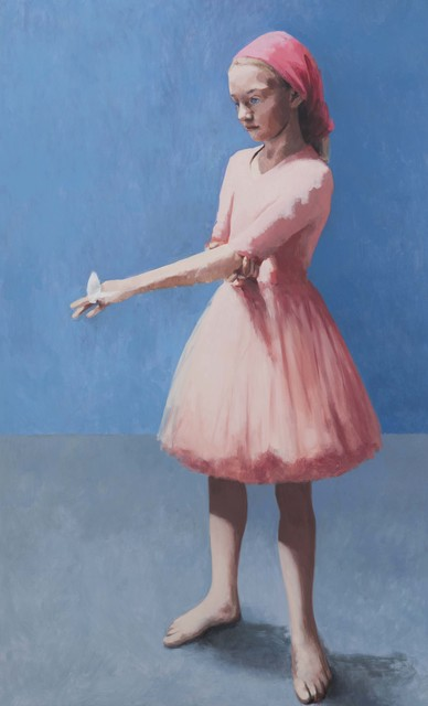 , 'Girl With a Butterfly, Pink Against Blue,' 2018, Flowers