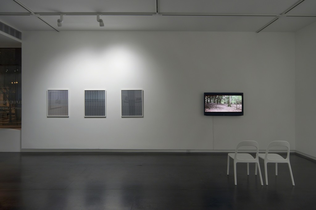 Three prints by Julie Perini, video by Jordan Rathus. Photo by Worksighted.