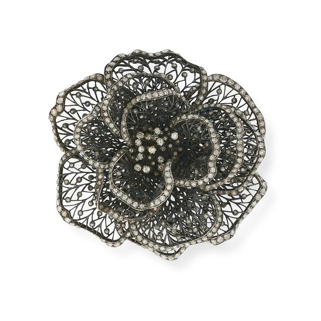 , 'A Blackened Silver and Diamond Rose Brooch,' ca. 1900, Wartski