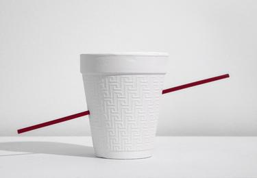 Styrofoam cup w/straw