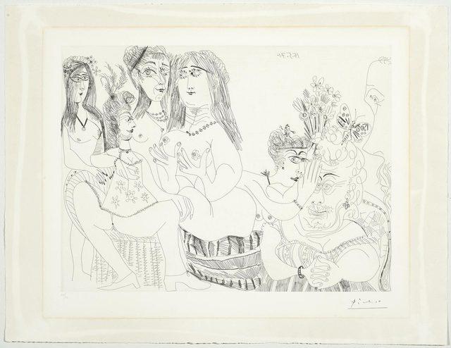 Pablo Picasso, 'La Fête de la Patronne: Les dames médisent de Degas, réduit à un tiers de profil', 1971, Print, Etching, Koller Auctions