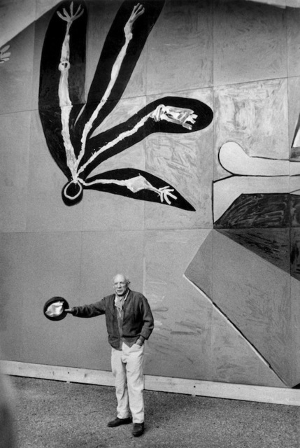 Inge Morath, 'Pablo Picasso at the inauguration of his mural for the Paris UNESCO building', 1958, °CLAIR Galerie