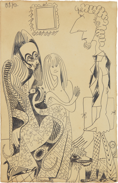 Pablo Picasso, 'La famille de Piero Crommelynck', Executed on September 19-1970, Drawing, Collage or other Work on Paper, Pencil on paper, Phillips