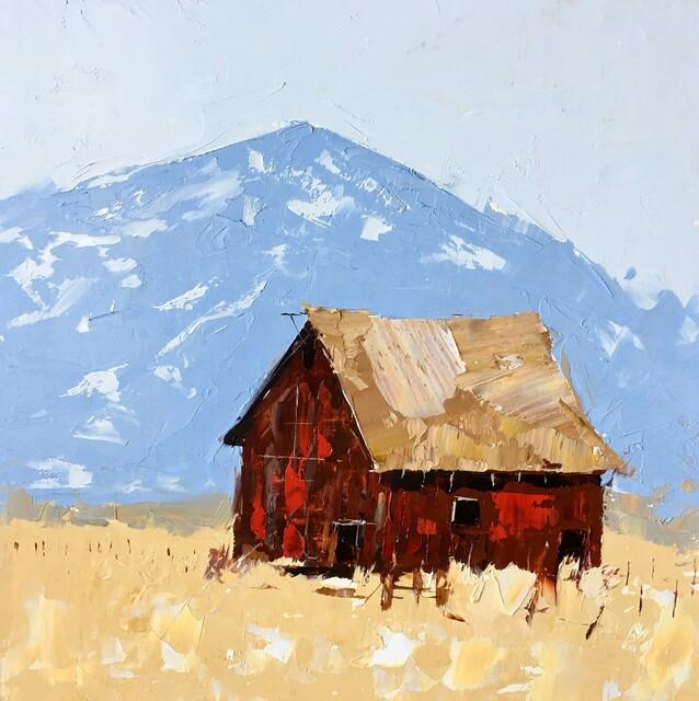 Sandra Pratt, 'Red Barn in Yellow Field', 2021, Painting, Oil on Linen, Abend Gallery