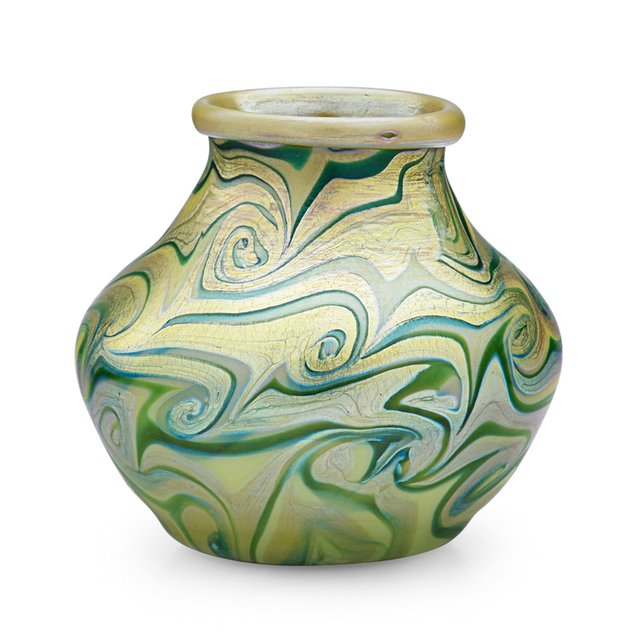 Tiffany Studios, 'Early Favrile Glass Vase With Swirling Pattern, New York', Late 19th C., Rago/Wright