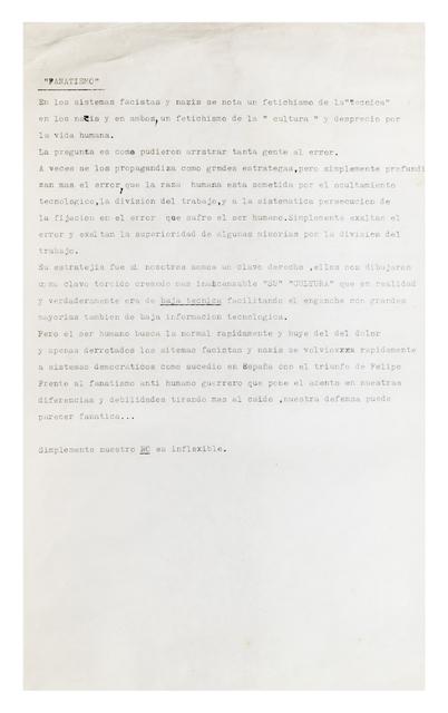 , 'Fanatismo,' 1986-1993, Henrique Faria | Buenos Aires