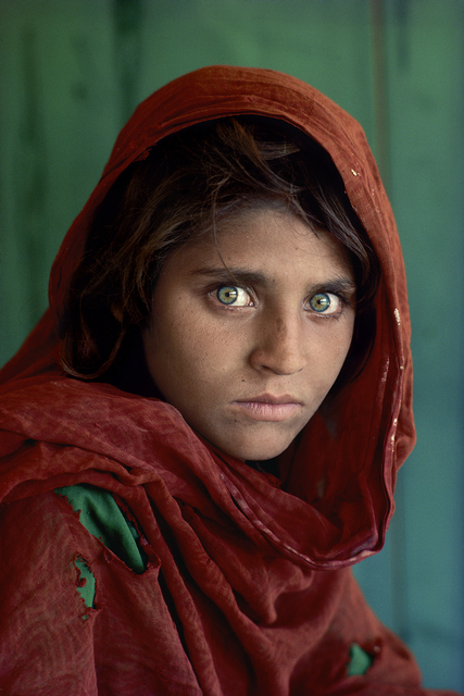 ", 'Sharbat Gula, ""Afghan Girl"", at Nasir Bagh refugee camp near Peshawar, Pakistan,' 1984, Asia Society Hong Kong"