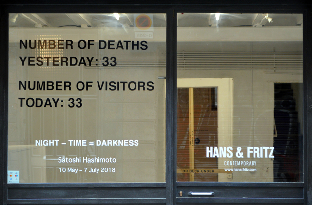 , 'NUMBER OF DEATHS YESTERDAY / NUMBER OF VISITORS TODAY,' 2018, Hans & Fritz Contemporary