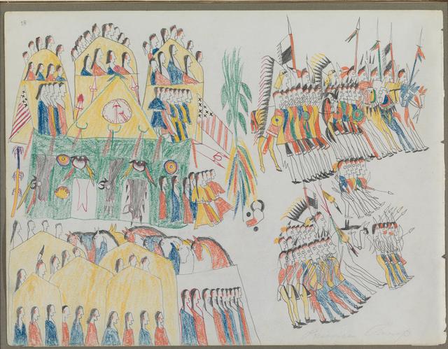 ", 'Ledger Drawing, ""Fort Sill Pawnee Village"",' ca. 1875, Donald Ellis Gallery"