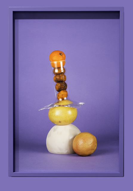 ", '""Citrus, glass and ceramic on purple"",' 2016, Temnikova & Kasela"