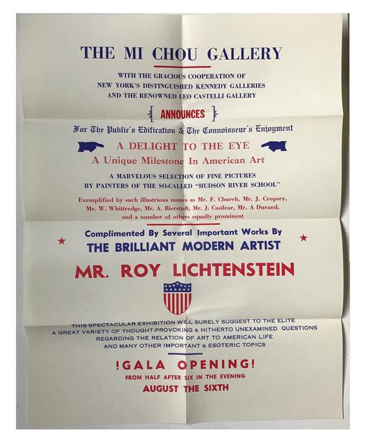"""Roy Lichtenstein, '""""Mr. Roy Lichtenstein"""", 1962, Exhibition Mailer / Poster / Invitation,  Mi Chou Art Gallery NYC / Kennedy Gallery NYC / Leo Castelli Gallery NYC, MUSEUM QUALITY, RARE', 1962, VINCE fine arts/ephemera"""