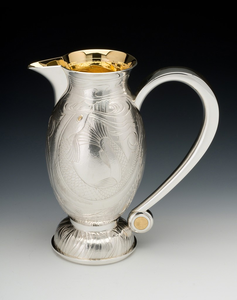 Rod Kelly , Trout Water Jug 2015 Silver gilt with inlaid fine gold H 23 cm