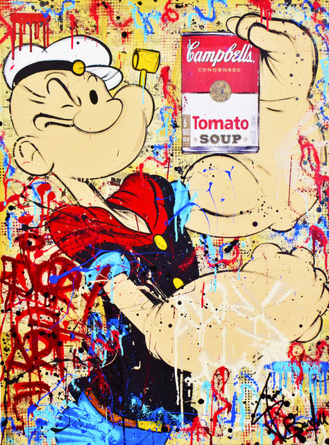 Vincent Bardou, 'POPEYE & CAMPBELL'S', 2020, Painting, Painting on canvas on stretcher - aerosol paint, acrylic, Design By Jaler