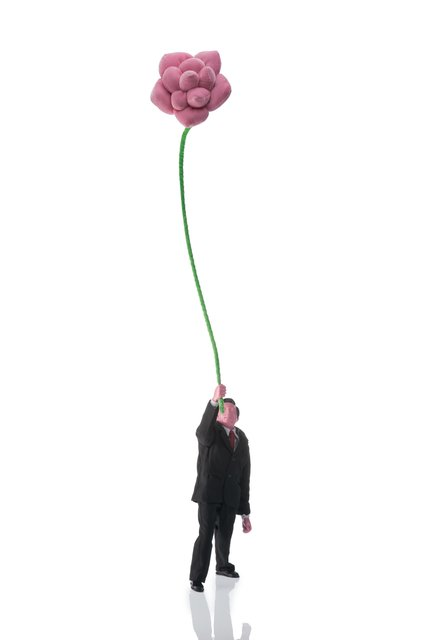 Ji Wenyu, 'Man Holding Pink Flower, from People Holding Flowers', 2007, Sculpture, Textile, linen, wire, resin, nylon, acrylic paint, Heritage Auctions