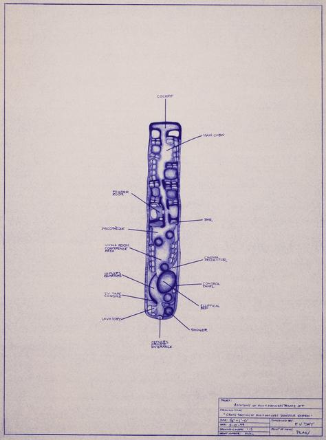 E.V. Day, 'Anatomy of Hugh Hefner's Private Jet', 1999, Print, Blueprints. Set of five., Track 16 Gallery