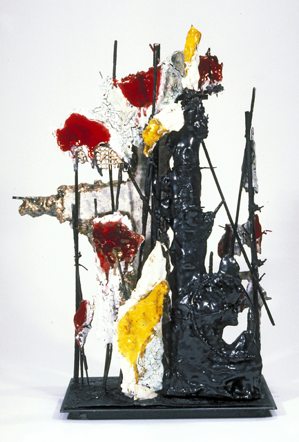 Raymon Elozua, 'Dek2/Gor2/Sti2/Kli7>HP:LSU', 1999, Sculpture, Terra cotta, glaze, steel rod and plate, Ferrin Contemporary