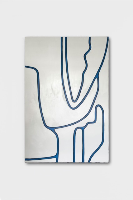 , 'Untitled LIX (White Tones, Black Lines, Primary Blue),' 2014, Galerie Francesca Pia