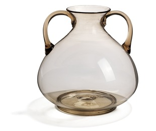 """""""Soffiato"""" vase of thin, brown glass with handles."""