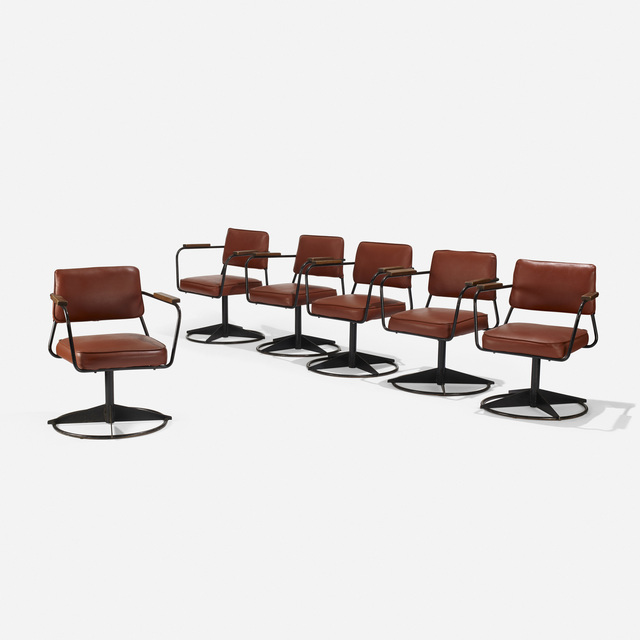 After Jean Prouve, 'Set of Six Armchairs', c. 1995, Design/Decorative Art, Vinyl, enameled steel, walnut, Rago/Wright