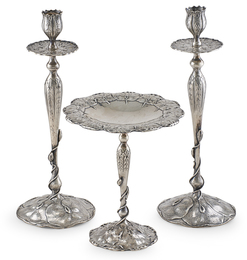Shreve & Co. San Francisco Sterling Silver Pair Of Tall Candlesticks & Compote