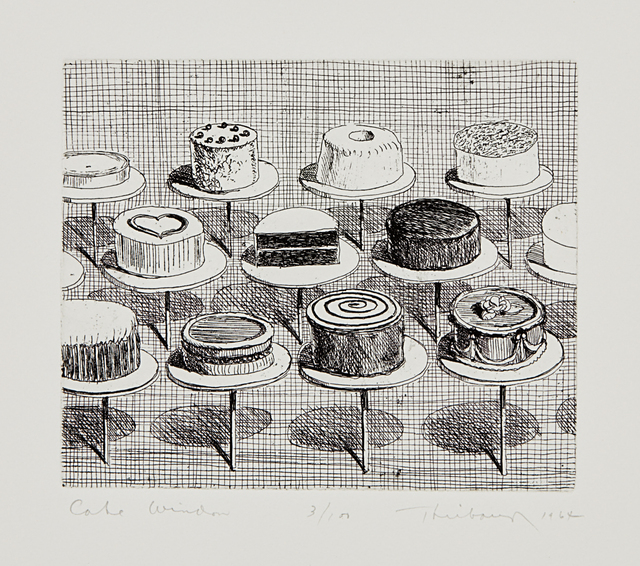 Wayne Thiebaud, 'Cake Window, from Delights', 1964, Print, Etching, on Rives BFK paper, with full margins, Phillips