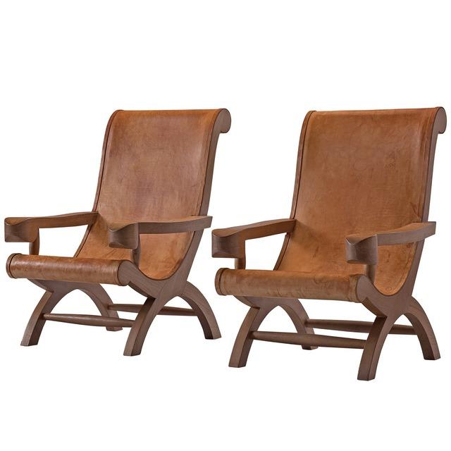 Wondrous Clara Porset Dumas Clara Porset Pair Of Butaque Lounge Chairs In Cognac Leather 1947 Available For Sale Artsy Creativecarmelina Interior Chair Design Creativecarmelinacom