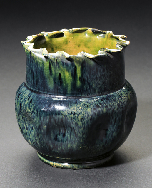 , 'Green & Indigo Large Dimple Vase with Ruffled Rim,' , Ferrin Contemporary