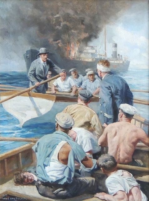 Anton Otto Fischer, 'Battle at Sea', 20th Century, Painting, Oil on Canvas, The Illustrated Gallery