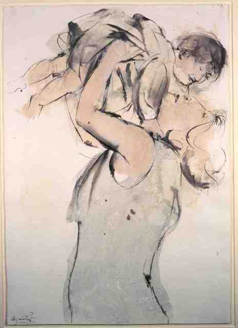 Giacomo Manzù, 'Mother and Child', 1979, Drawing, Collage or other Work on Paper, Watercolor, Tasende Gallery