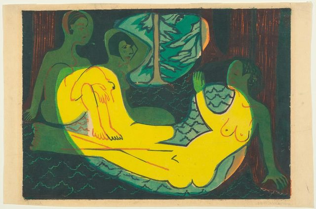 Ernst Ludwig Kirchner, 'Drei Akte im Wald', 1933, Print, Colour woodcut, 5th state (final state. One of the 17 known examples of this state), Koller Auctions