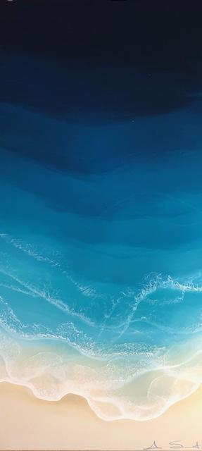 "Anna Sweet, '""Liquid Vertical"" Mixed media painting aerial view of deep blue ocean waves', 2019, Eisenhauer Gallery"