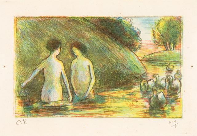 Camille Pissarro, 'BAIGNEUSES GARDEUSES D'OIES (Bathing Women Tending Geese)', ca. 1895, Christopher-Clark Fine Art