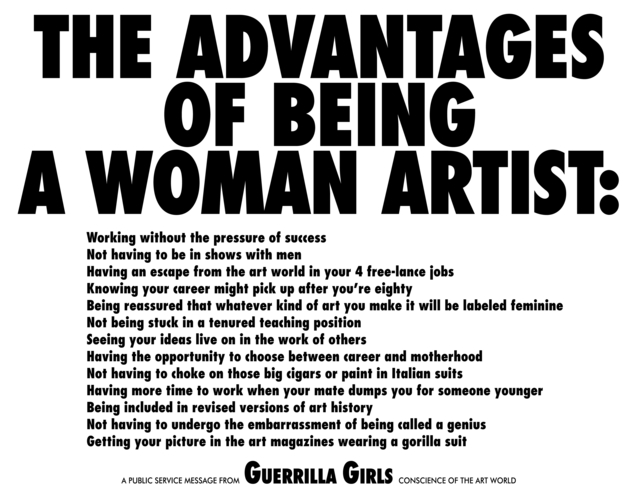 Guerrilla Girls, 'The Advantages of Being a Woman Artist', 1988, Print, Offset lithography on paper, Children's Museum of the Arts Benefit Auction
