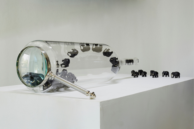 Sunil Gawde, 'Id - od 10', 2015, Installation, Transparent glass bottle, fiber glass, magnifying glasses, Double Square Gallery