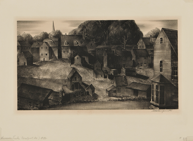 """Stow Wengenroth, 'Summer Dusk (Eastport, Maine)', 1932, Print, Lithograph on wove paper with """"FRANCE"""" watermark, Skinner"""