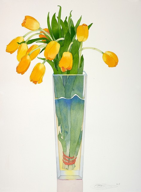 Gary Bukovnik, 'Yellow Tulips in a Tall Vase', 2019, The Bonfoey Gallery