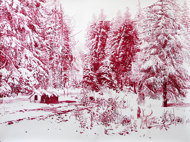 Malgosia Jankowska, 'Roter Schlitten', 2015, Painting, Watercolour and ink on paper, Victor Lope Arte Contemporaneo