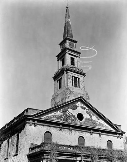 ", 'St. Mark's Church: Sky-writing Spiral (from the series ""Changing New York""),' 1937, Bookstein Projects"