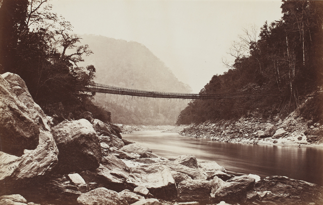 , 'Darjeeling; Cane bridge over the Teesta river leading into Bhootan ,' 1869, Sarmaya
