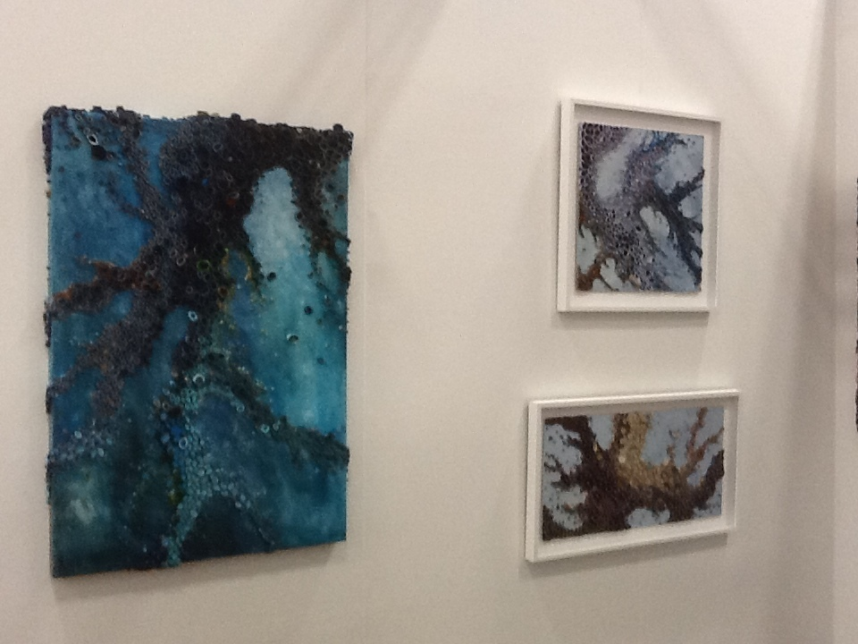 Amy Genser's organic landscapes of rolled paper and acrylic on exhibit at Elisa Contemporary Art, Booth 115, Art on Paper fair.