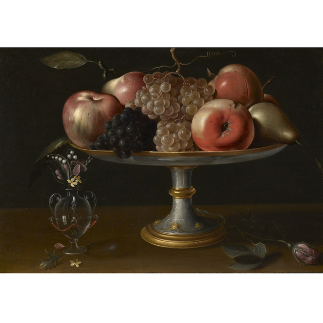 , 'Still-life with Apples, Pears and Grapes, Flowers in a Glass Vase and a Rose,' first quarter 17th Century, Carlo Orsi - Trinity Fine Art