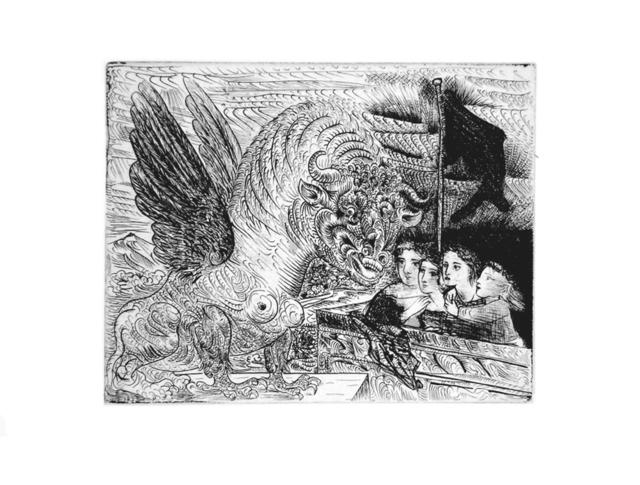 Pablo Picasso, 'Harpye à Tête de Taureau, et Quatre Petites Filles sur une Tour surmontée d'un Drapeau noir (S.V. 13)', 1934, John Szoke