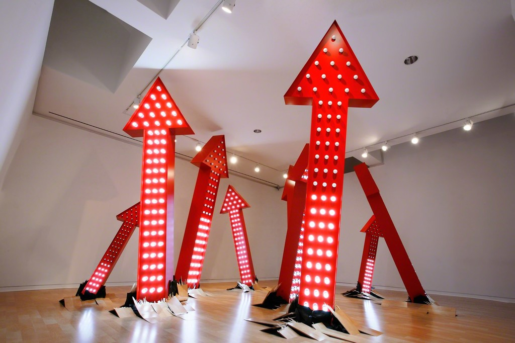 SuttonBeresCuller You Always Leave Me Wanting More, 2015 Aluminum, enamel, LED lightbulbs, electronics, flooring  27½ x 33 ft. Commissioned by the Frye Art Museum and funded by 21c Museum Hotels and the Frye Foundation Courtesy of Greg Kucera Gallery  Photo: Mark Woods