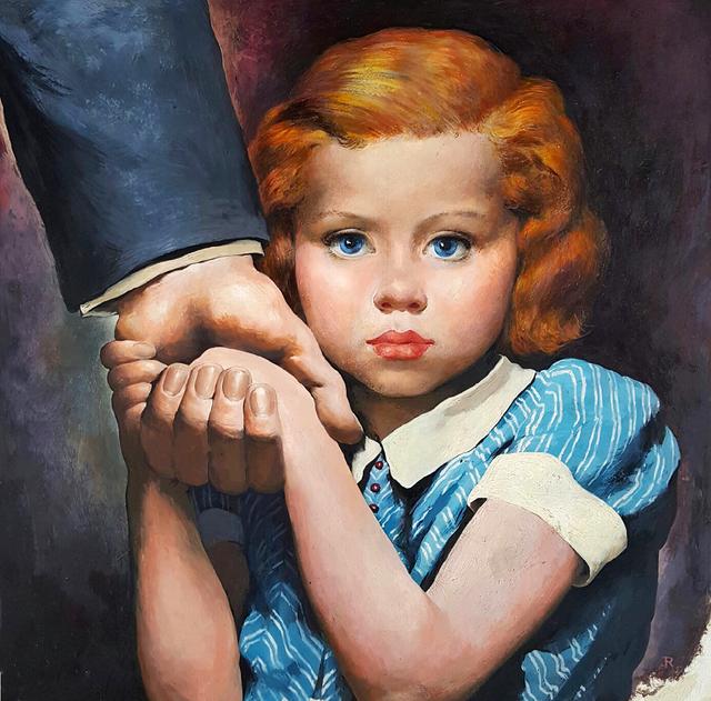 Robert Riggs, 'Holding her father's hand, Magazine Illustration ', ca. 1940's, Robert Funk Fine Art