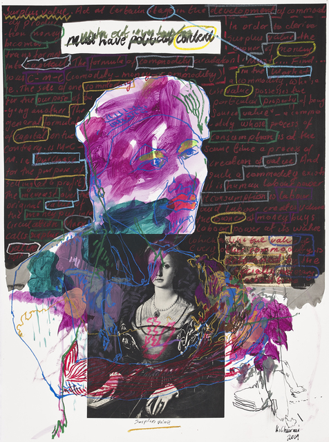 Kudzanai Chiurai, 'Untitled XII (Must have Political Content)', 2019, Drawing, Collage or other Work on Paper, Mixed media on Saunders archival cotton rag paper, Goodman Gallery