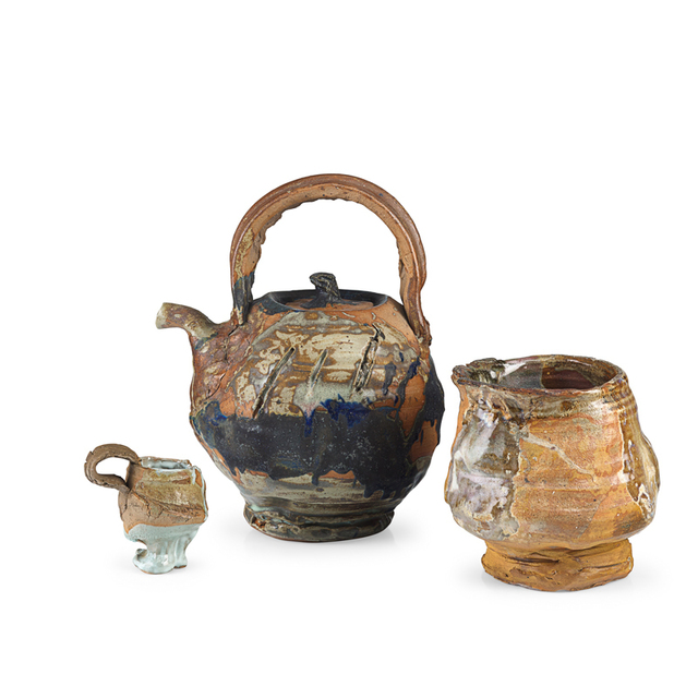 Peter Voulkos, 'Rare, large teapot and coffee cup by Voulkos, tea bowl by student, Berkeley, CA', 1962, Rago