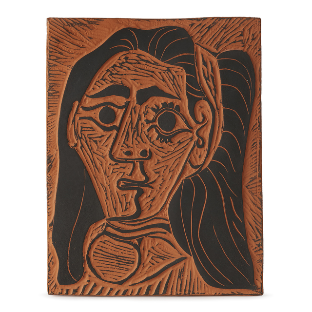 Pablo Picasso, 'Fluffy-Haired Woman', 1964, Other, Red earthenware clay plaque, Freeman's