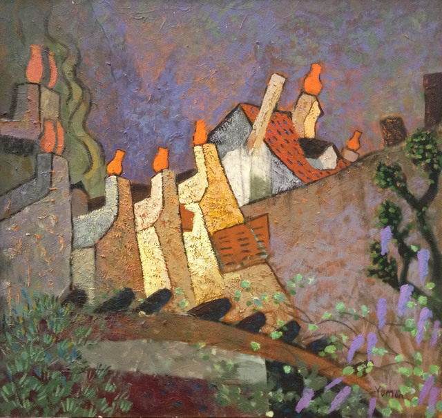 Yuman Zeng, 'Chimneys in Paddington', 2014, Painting, Mixed Media, Wentworth Galleries