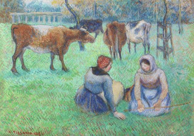 Camille Pissarro, 'Paysannes assises gardant des vaches', 1886, BAILLY GALLERY